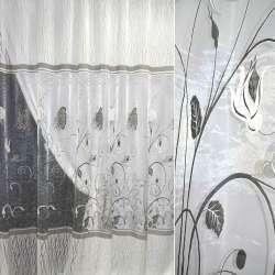 Органза деворе молочная в серые цветы и серпантин ш.270