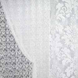 """Органза """"Деваре"""" белая с белыми цветами ш.280"""