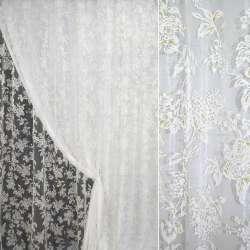 """Органза """"Деваре"""" белая в бело-зеленые цветы ш.280"""