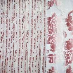 """органза """"Деваре"""" белая с бордов. листьями ш.280"""