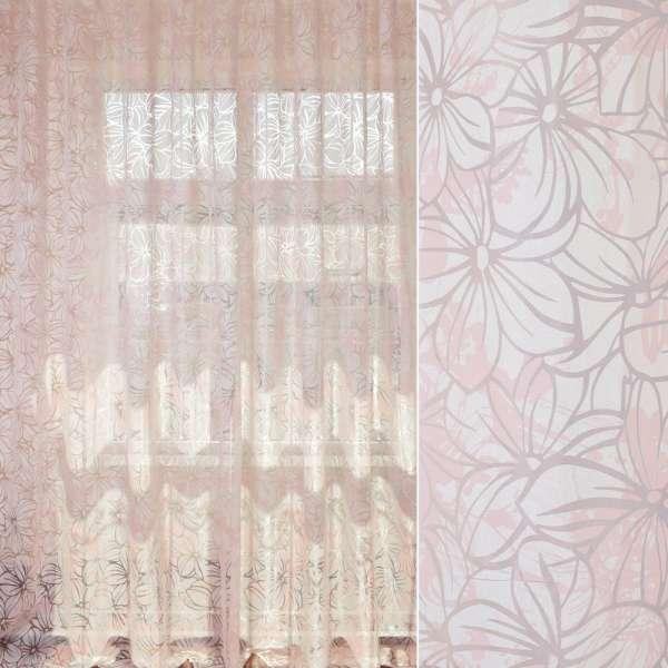 Органза деворе біло-рожева в квітковий узор, ш.280