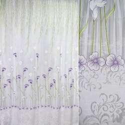 органза белая с фиолет.-зелеными каллами (купон) ш.270
