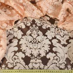 Органза персиковая с вензелями деворе ш.280