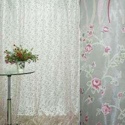 Органза деворе белая с мелкими красными цветами и серпантином купон ш.275