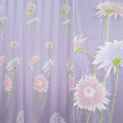 Органза деворе сиреневая с розовыми и фиолетовыми цветами