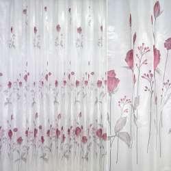 Кристаллон белый с красными цветами ш.270