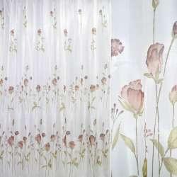 Кристаллон белый с коричневыми цветами ш.270