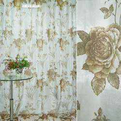 Крісталлон білий з коричневими трояндами і букетом квітів ш.270