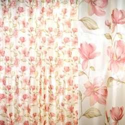 Кристаллон кремовый с вьющимися розовыми цветами ш.270