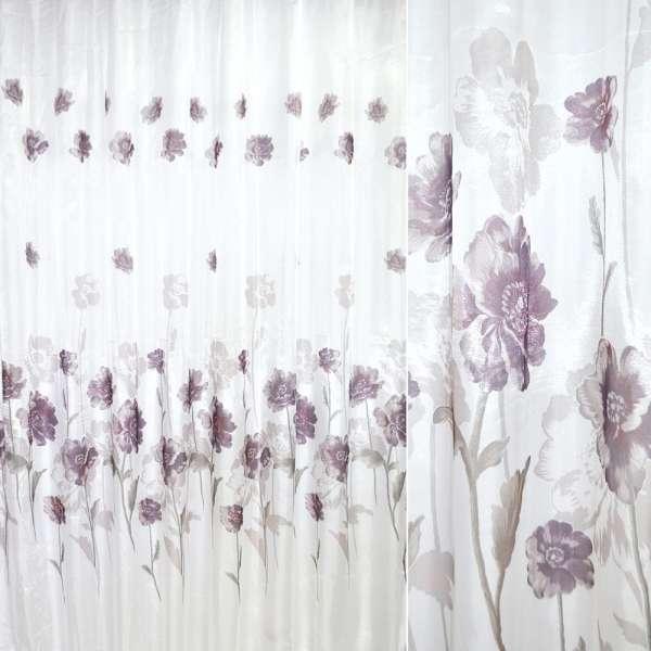 кристаллон белый с фиолетовыми цветами ш.270