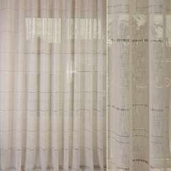 Льон гардинний з мережкою бежевий світлий, ш.300