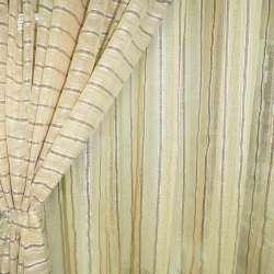 Лен французский золотистый с витыми полосками и коричневыми строчками ш.280