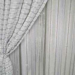 Лен французский серый светлый с витыми полосками и коричневыми строчками ш.280