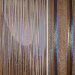 лен с органзой терракотовый с сине-терракот.полосой