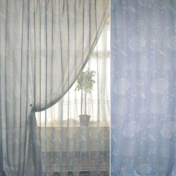 Французский лен голубой в бело-розовые цветы лотоса ш.260