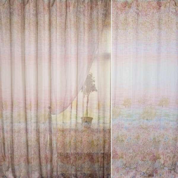 Французский лен розово-зелено-бежевый поле цветов ш.270