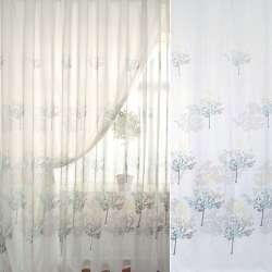 Лен французский белый в коричнево-бирюзовые деревья ш.270