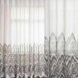 Льон гардинний білий, облямівка в сіро-білі зигзаги, ш.280