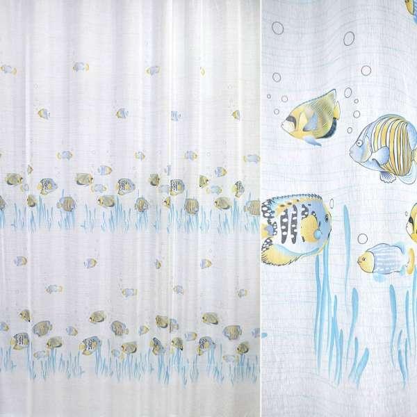 лен француз. белый с голубыми рыбками ш.270