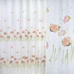 лен француз. белый с розовыми рыбками ш.270