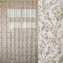 Льон французький білий в коричневий візерунок, ш.270