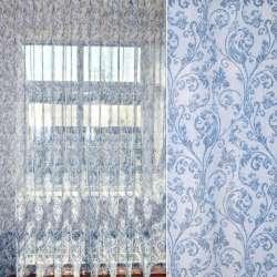 Льон французький білий в синій візерунок, ш.275