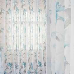 Лен французский белый в акварельные голубые лилии, серые листья, ш.280