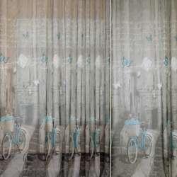 Льон французький сірий з бірюзовими велосипедами, ш.260