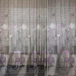 Льон французький сірий з бузковими велосипедами, ш.260