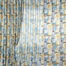 Лен гардинный голубой в фрегаты, маяки ш.280