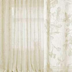 Льон гардинний білий, оливково-білі квіти, ш.280