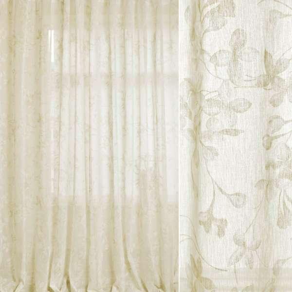 Лен гардинный белый, оливково-белые цветы, ш.280