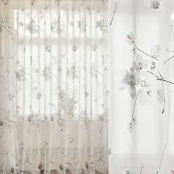 Льон гардинний деворе білий, квіти сакури, ш.280