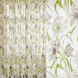Лен гардинный деворе белый, зелено-серо-белые лилии, ш.280