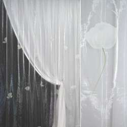 Органза  белая  с  росп.  крупне  цветы