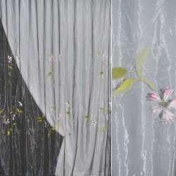 Органза сіра з бузковими квітами і блискітками хамелеон