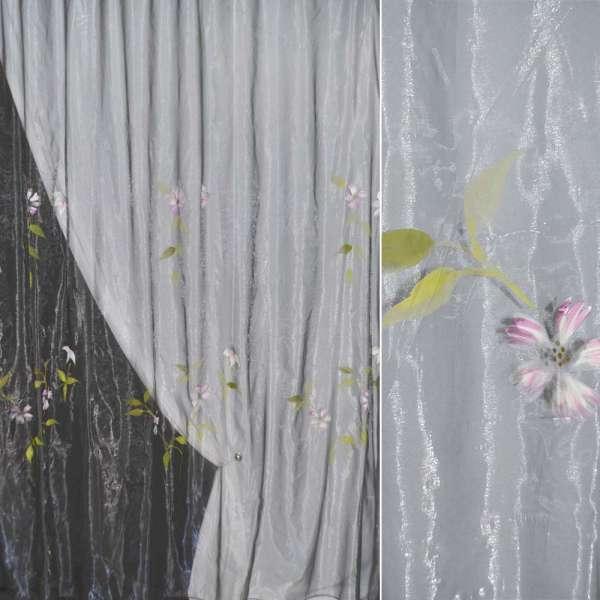органза набів.серая з сіренев.цветамі і блискітками. хамів