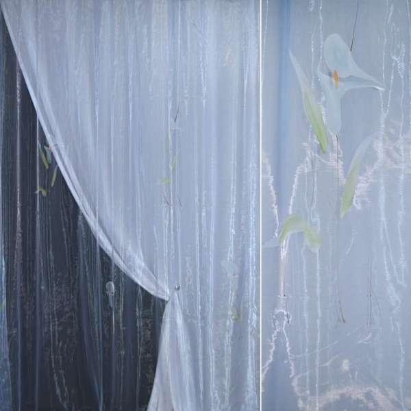 Органза голубая с голубыми высокими цветами и люрексом