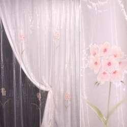 Органза рожева з рожево-бузковими квітами
