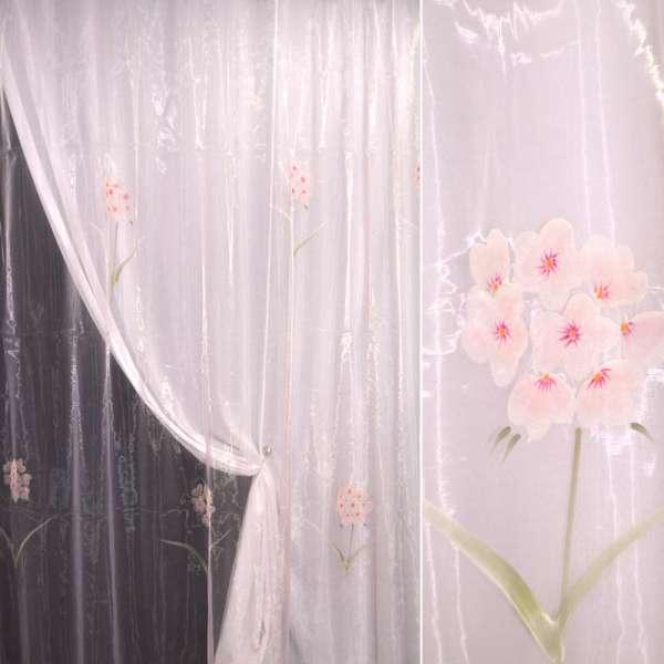 Органза розовая с розово-сиреневыми цветами