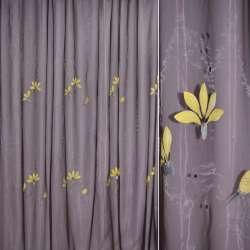 Органза бузкова темна з жовтими квітами і сірим стеблом