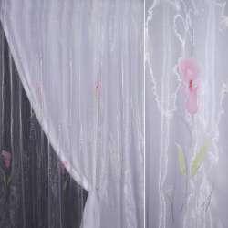 Органза бузкова з рожевим високим квіткою