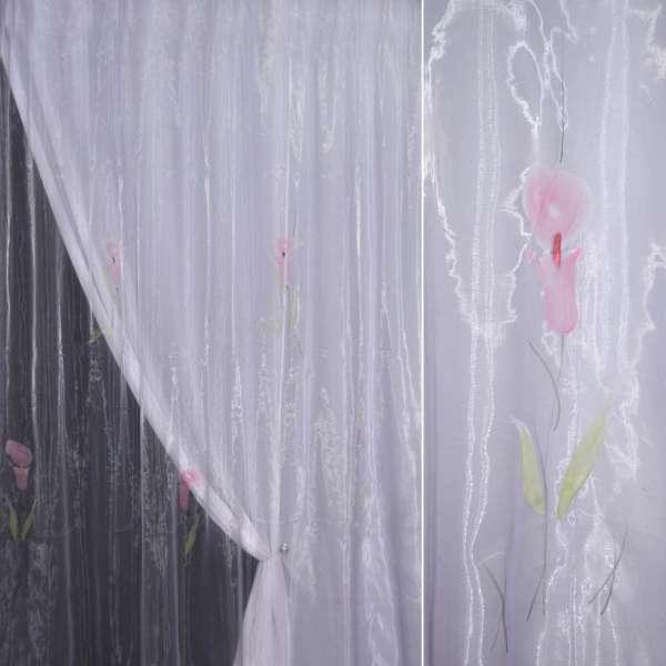 Органза сиреневая с розовым высоким цветком