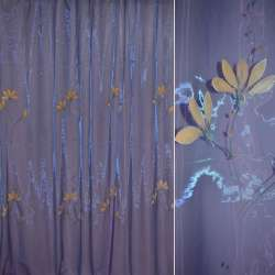Органза фіолетова з абрикосовими високими квітами