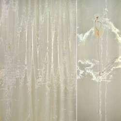 Органза  желт.  с  высокими  персик.  цветкам