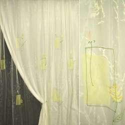 Органза жовта бліда з жовтими і рожевими квітами