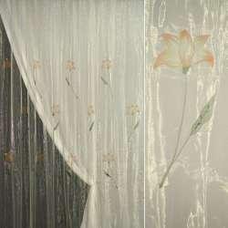 Органза шампань з теракотовими квітами