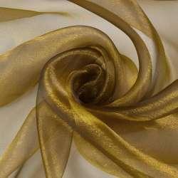 Мусс-органза коричневая с золотым отливом ш.275