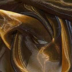 органза коричневая с оранж. отлив. хамел (оттен.тем.) ш.280