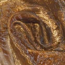 Органза жатая коричневая с оранжевым отливом хамелеон ш.280